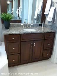 Vanity Ideas For Small Bathrooms Gray Wall With Mirror Combined With Brown Wooden Vanity With