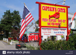 Flags Restaurant Menu Maine Ogunquit Us Route 1 Captain U0027s Catch Restaurant Sign Lobster