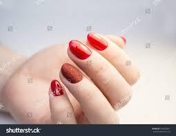 amazing manicure natural nails gel polish stock photo 554529631