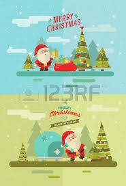 merry christmas vector winter background santas set royalty free
