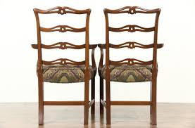 Antique Dining Chairs Sold Set Of 8 Traditional Carved Mahogany Vintage Dining Chairs