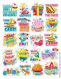 eureka birthday stickers theme 655062 office products