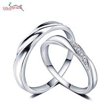 wedding rings pave images Colorfish sterling silver wedding rings pair for women men micro jpg