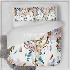 Duvet Comforter Set Boho Bedding Watercolor Deer Skull Wildflowers Duvet Bedding Set