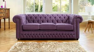 furniture purple fabric chesterfield sofa with wooden chest