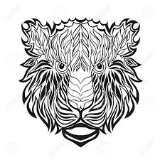 tiger head antistress coloring page black white hand