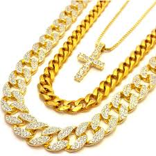 yellow gold necklace set images 14k gold plated 3 chain set iced out cuban iced out cross and jpg