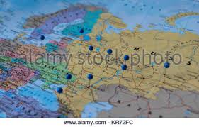 russia football map moscow pinned in a closeup map for football world cup 2018 in