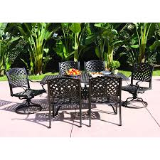 7 Piece Aluminum Patio Dining Set - shop darlee nassau 7 piece antique bronze aluminum patio dining