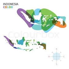 abstract vector color map of indonesia with transparent paint