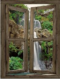 28 canvas wall mural floral waterfall window 1 piece canvas canvas wall mural waterfall cabin window 4 peel amp stick 1 piece canvas
