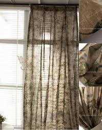 style printed leaf pattern khaki linen cotton shabby chic curtain