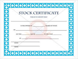 stock certificate template free word form pdf excel pdf