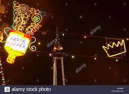 neon blackpool illuminations blackpool tower stock photo royalty