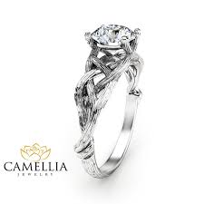 tree branch engagement ring branch moissanite engagement ring 14k white gold moissanite