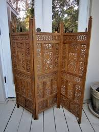 classy folding screens room divider with perforated carving