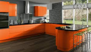 Interior Design Ideas For Kitchen Color Schemes Orange Color Kitchen Design Blue Wall Paint And Orange Kitchen