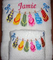 flip flop towel embroidered flip flops bath towel set theembroiderygarden