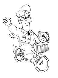 postman pat waving hand riding bike coloring pages
