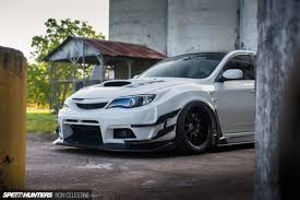 subaru wrx hatchback spoiler east meets west in a wide body wrx hatch speedhunters