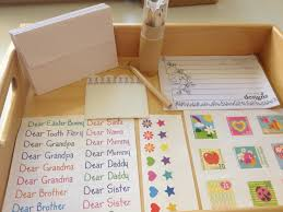 montessori writing paper an addition to our writing centre every day begins new this is what came in the box including the wooden letterbox wall strips to secure letter box to the wall a lined writing pad envelopes stickers and