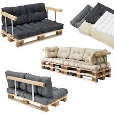 canap en palette de palette 5 siège avec coussins gris foncé kit complet