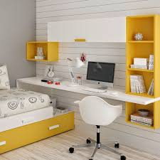 long and narrow white painted oak wood wall desk with yellow wall