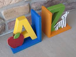 a to z bookends for children library bookshelf apple by lisabees