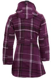 women s belted hooded button up la s long checked winter duffle