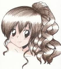 drawing of a with curly hair anime girls laura callaghan