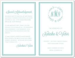 wedding programs sle laurel leaf monogram turquoise bi fold template downloadble
