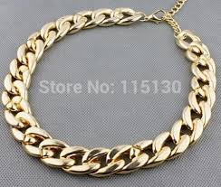 gold chain collar necklace images Vintage gold color chunky chain necklace for women long chian ccb jpg
