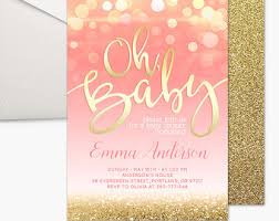 pink and gold baby shower invitations baby shower invitation pink gold baby shower invitation