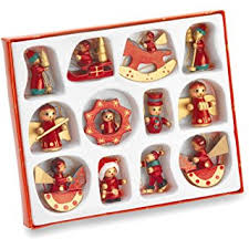 Wooden Toy Christmas Tree Decorations - 12 traditional wooden christmas tree decorations rocking horse