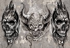 gargoyle black grey tattoo design