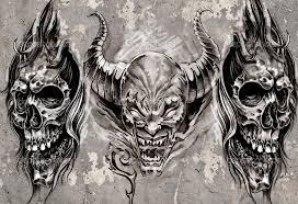 gargoyle black grey tattoo design