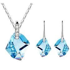 swarovski earring necklace set images Women high quality jewelry set blue crystal necklace pendants jpg