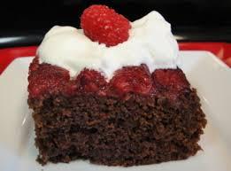 spicy chocolate raspberry upside down cake with raspberry