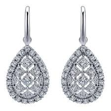 teardrop diamond earrings gabriel white gold teardrop diamonds leverback earrings