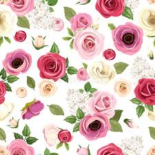 Colorful Roses Seamless Pattern With Colorful Roses Lisianthus And Anemone