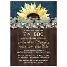 couples shower invitations shower invitations sunflower denim wood lace i do bbq