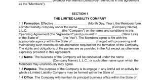 multi member llc operating agreement template eforms u2013 free