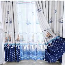 blackout affordable white and royal blue nautical curtains