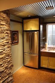 basement remodel fridge corrugated tin ceiling corrugated tin