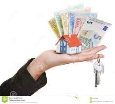 hand holding house keys euro money royalty free stock image