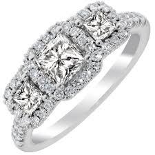 three stone engagement rings martin flyer princess cut three stone diamond halo ring in 14kt