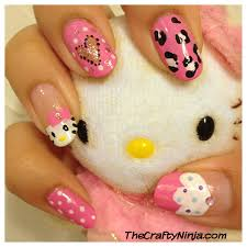 hello kitty cupcake nails the crafty ninja