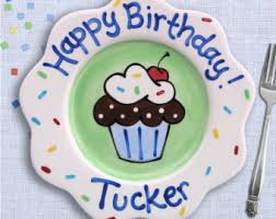 Plate Decorating Ideas For Desserts Happy Birthday Plate Etsy
