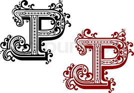 capital letter p decorated by ornamental flourishes wavy lines