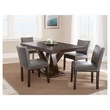 5 piece whitney dining table set wood brown gray steve silver